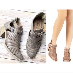 QUPID Suede Almond Toe Cutout Ankle Bootie Boots